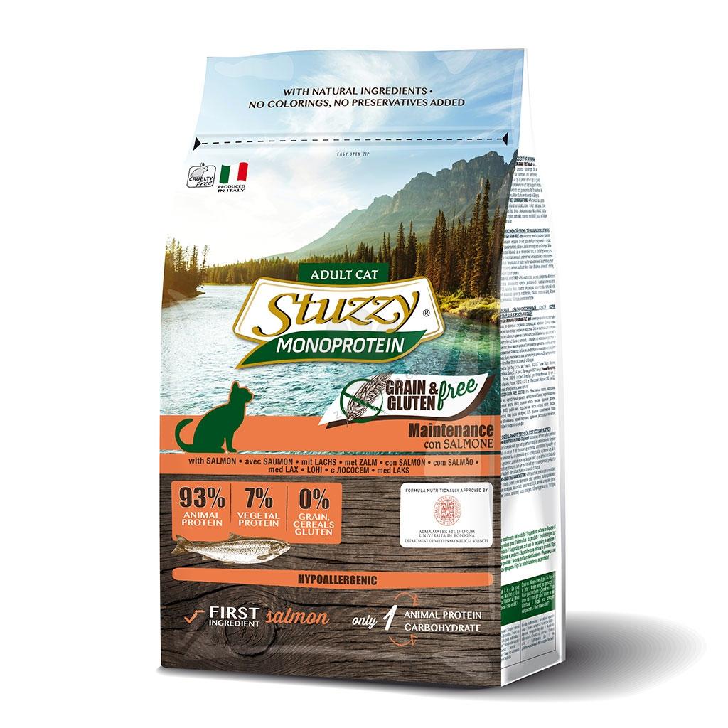Stuzzy Monoprotein Grain Free Salmon Adult - пълноценна храна със сьомга, за котки над 12 месечна възраст 400 гр.