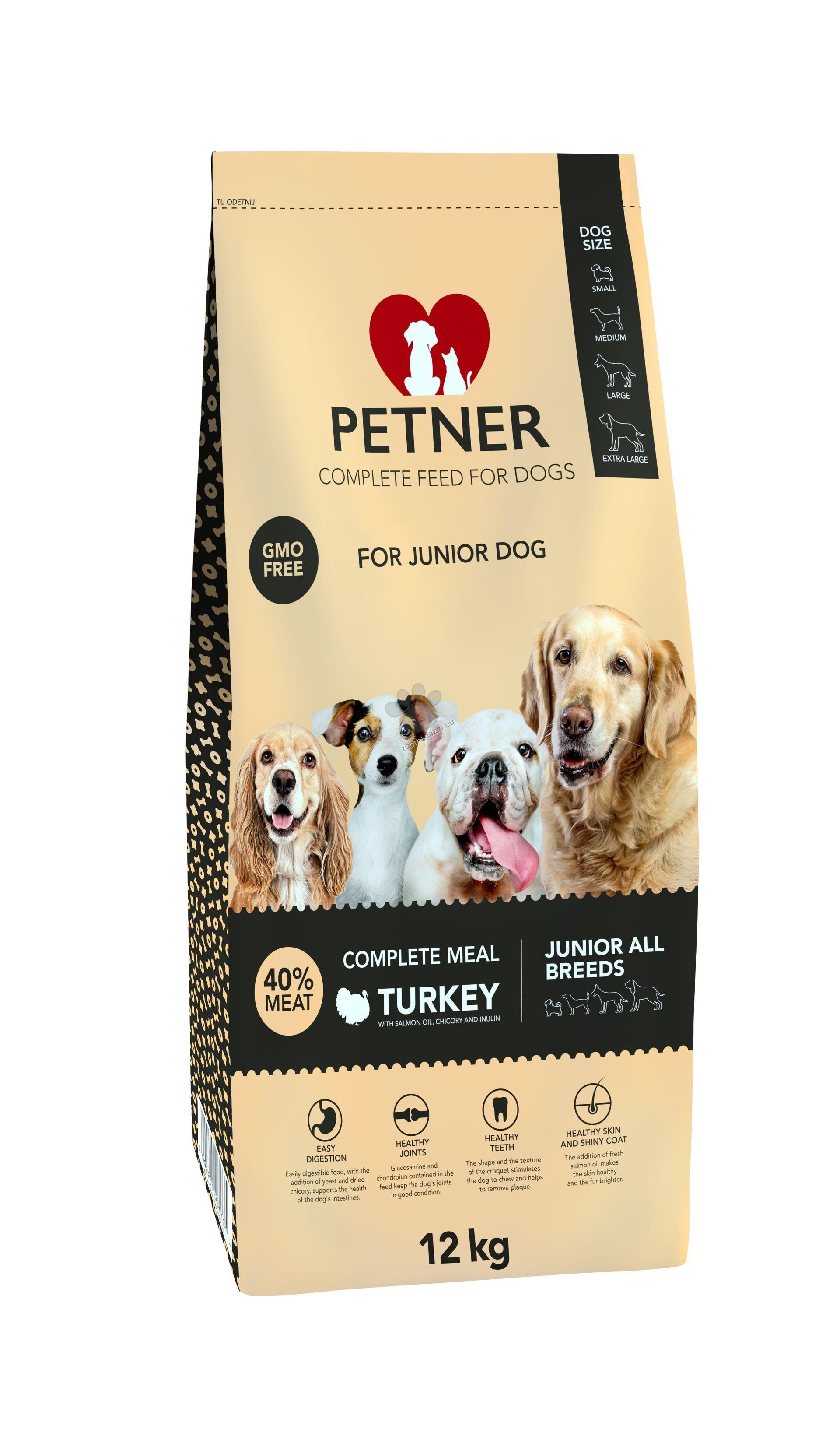 Petner junior all breads turkey - пълноценна храна за кучета от всички породи, и възраст до 18 месеца, 12 кг.