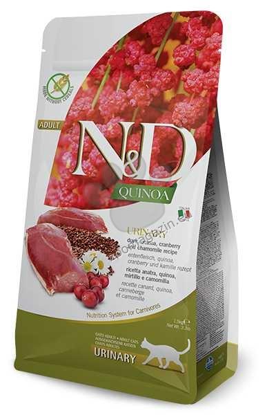 N&D Quinoa Urinary Duck Cranberry – пълноценна храна с киноа за котки над една година, за уринарен тракт с патица, червена боровинка и лайка 1.5 кг. + ПОДАРЪК: 3 броя консерва N&D Cat