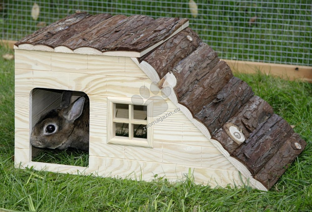 Kerbl Rodent cabin with ramp Nature - дървена къщичка с рампа 50 / 25 / 25 см.