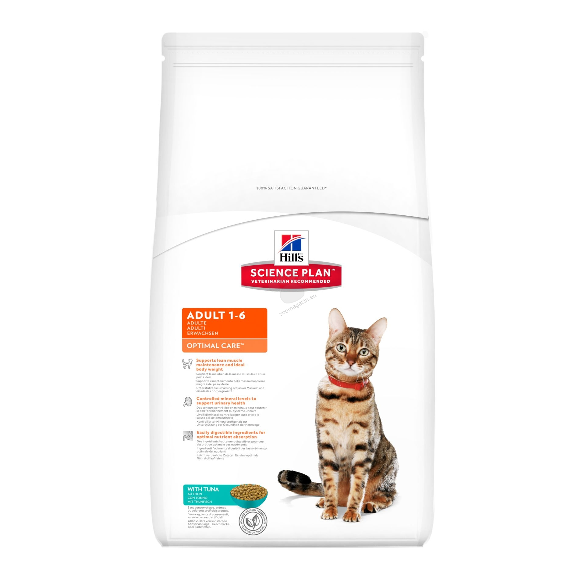Science Plan Feline Adult Optimal Care Tuna - с риба тон - Котки от 1 до 7 години 10 кг. + ПОДАРЪК 36 бр. пауча