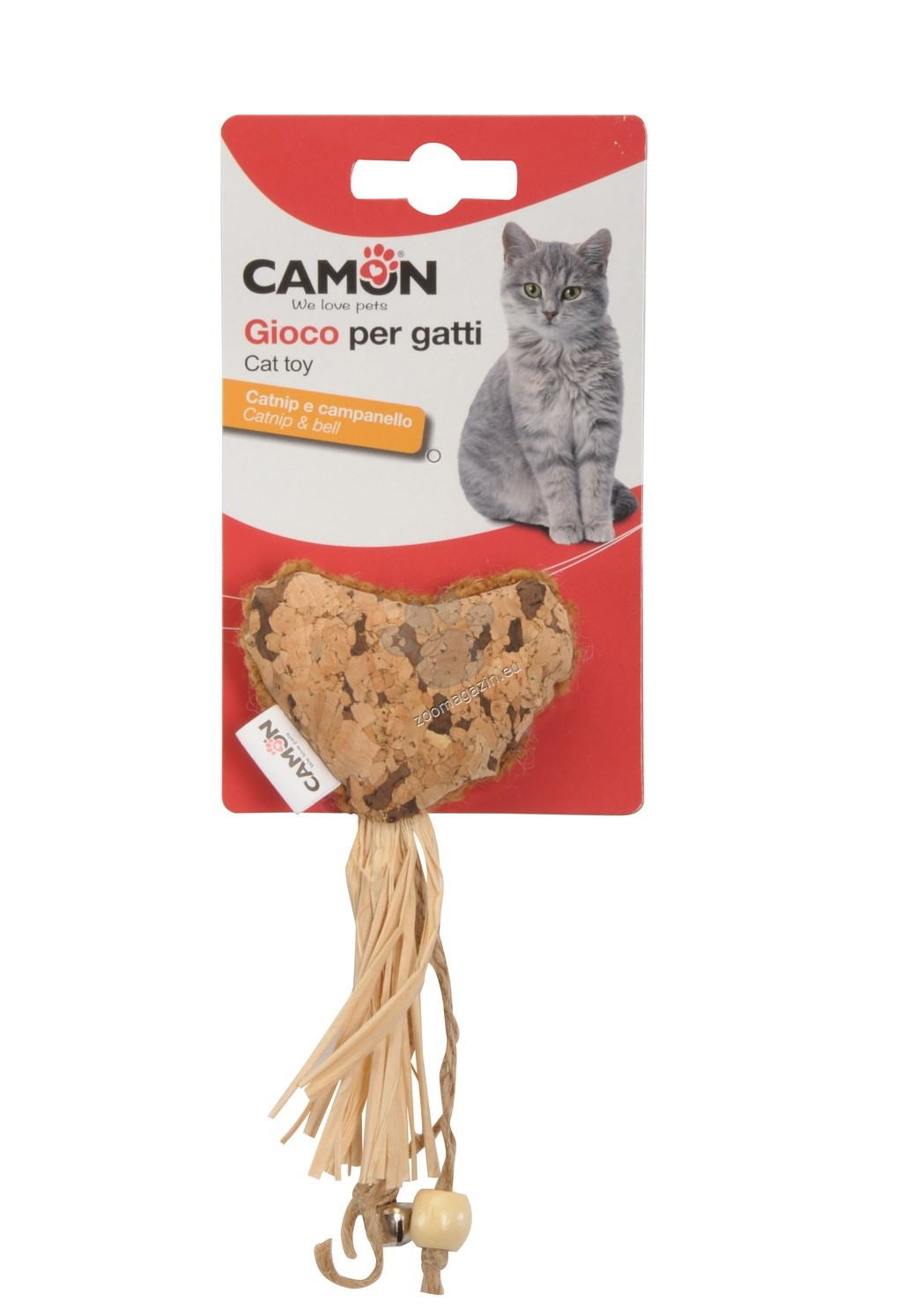 Camon Cat toy with catnip - heart with bell - котешка играчка