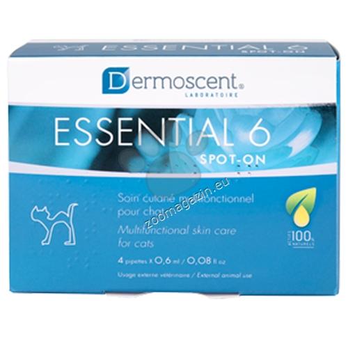 Dermoscent Essential 6 Spot On - безценен помощник в грижата за кожата и козината на Вашия питомец, за котки 4 броя по 0.6 мл.