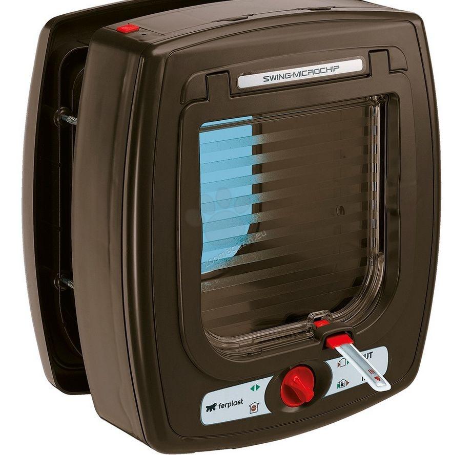 Ferplast - Swing Microchip Brown - електронна вратичка за вграждане 22,5 / 16,2 / 25,2 cm.