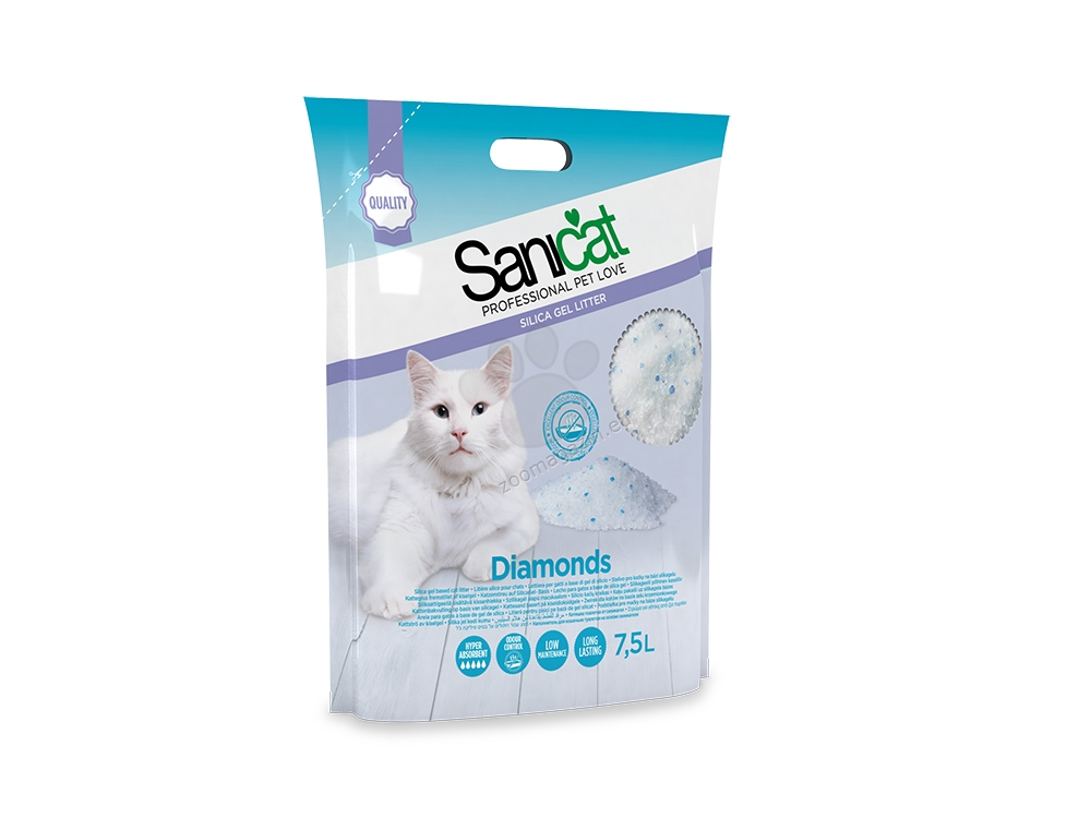 Sanicat Diamonds Natural - силиконова котешка тоалетна, 7.5 литра /3.6 кг/