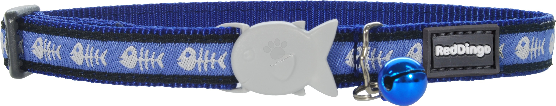 Red Dingo - Cat Collar Fish Bone Dark Blue - котешки нашийник, 12 мм х 20-32 см