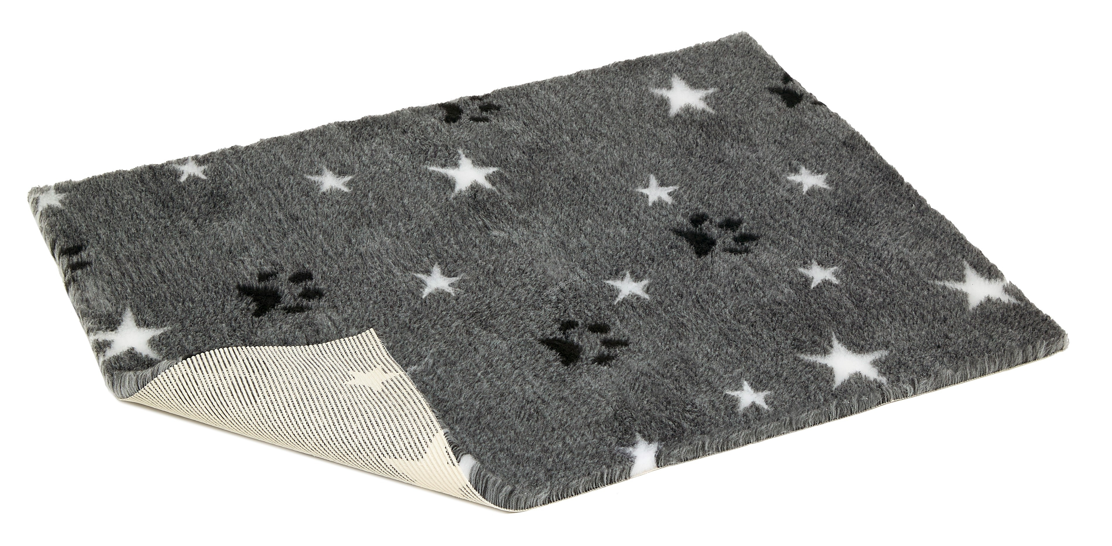 Vetbed Non-Slip Lime Grey with Stars and Paws - мека постелка със слой против пързаляне 110 / 75 см.