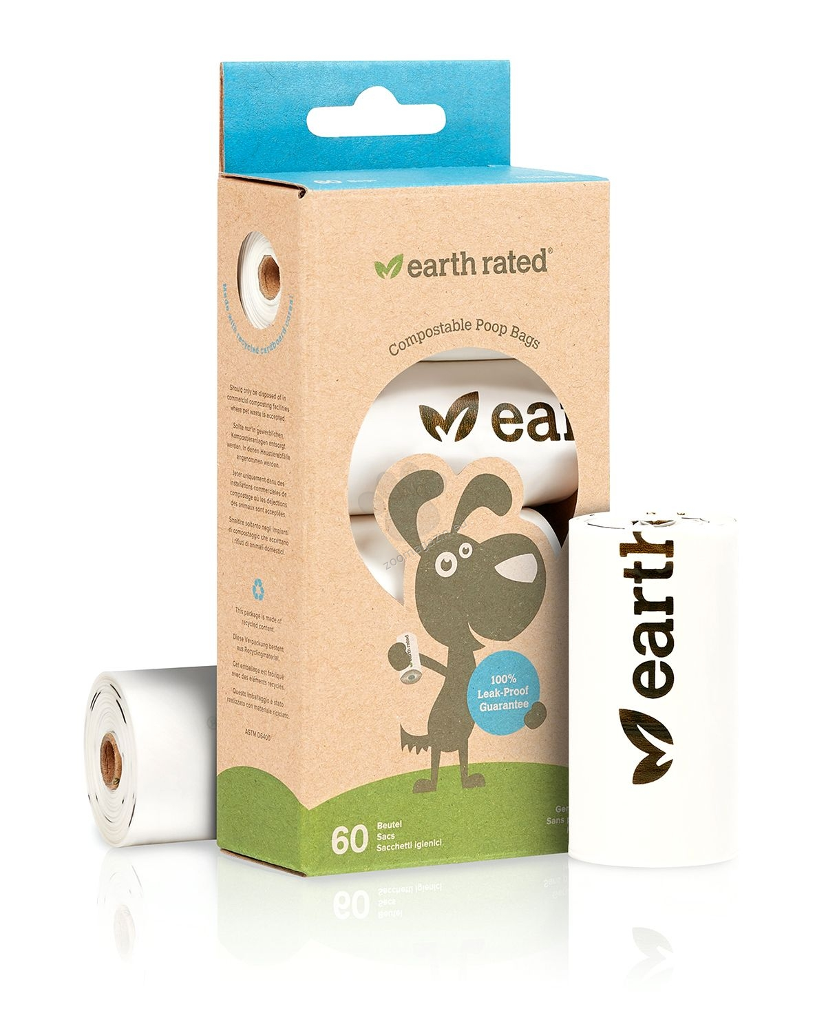 Earth Rated - Compostable Refill Rolls - био бързоразградими пликове 4 ролки по 15 броя