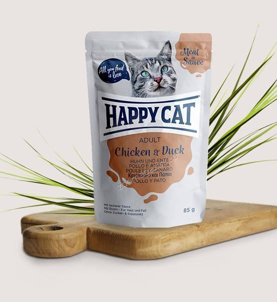 Happy Cat Meat in Sauce Adult Chicken & Duck - с пилешко и патешко месо 85 гр.