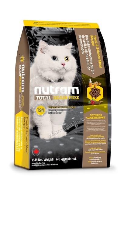 T24 Nutram Total Grain-Free Trout and Salmon Meal Recipe - натурална котешка рецепта БЕЗ зърно с пъстърва и сьомга 6.8 кг.