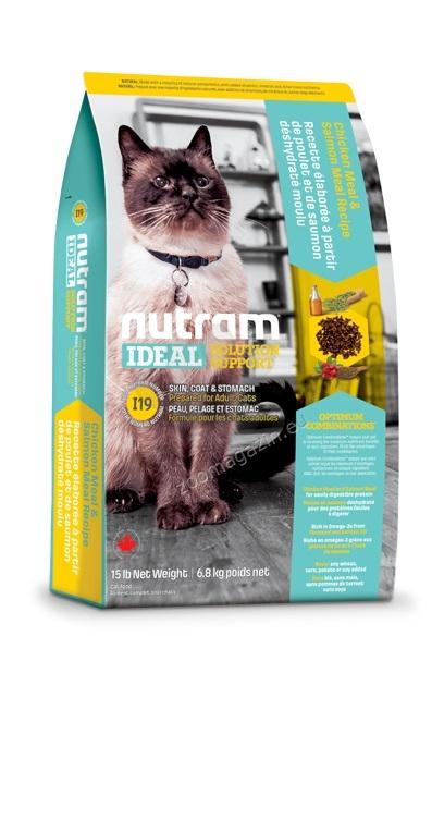 I19 Nutram Ideal Solution Support Skin, Coat and Stomach - за котки с чуствителен стомах, кожа и козина, рецепта с пиле, сьомга и цели яйца 1.8 кг.