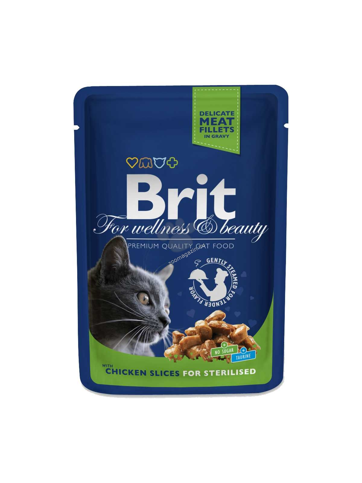 Brit Premium Cat Pouches Chicken Slices for Sterilised - с пилешко месо, за кастрирани котки 100 гр.