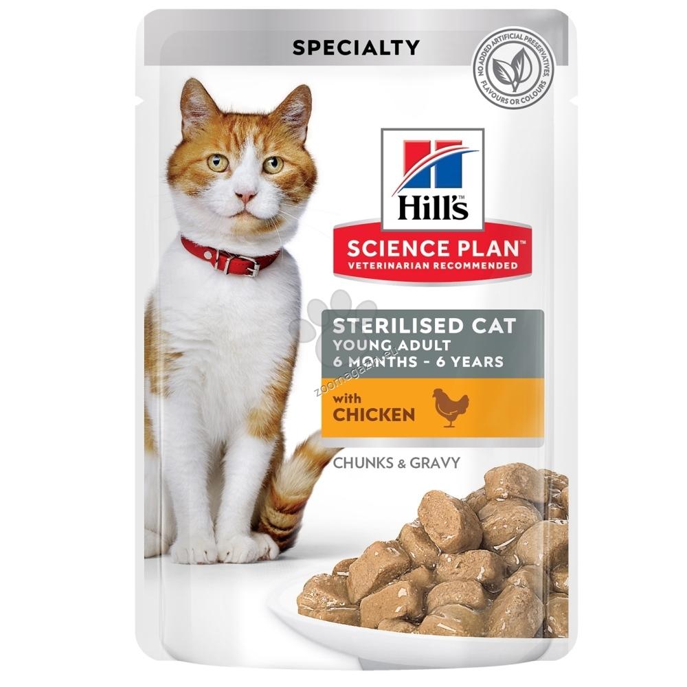 Hills Science Plan Feline Sterilized Cat Young Adult - пауч с пилешко - пълноценна храна за кастрирани котки от 6 мес. до 6 год. 12 х 85 гр.