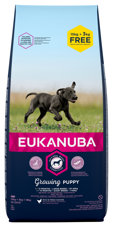 Eukanuba Puppy Chicken Large Breed - за кучета големи и гигантски породи над 26 кг. и възраст от 2 до 24 месеца  15 кг. + 3 кг. ГРАТИС