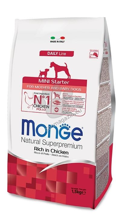 MONGE MINI STARTER – за бременни и кърмещи кучета и кученца по време на отбиването от дребни и миниатюрни породи 15 кг. + ПОДАРЪК: 6 броя консерви Gemon Junior 415 гр.