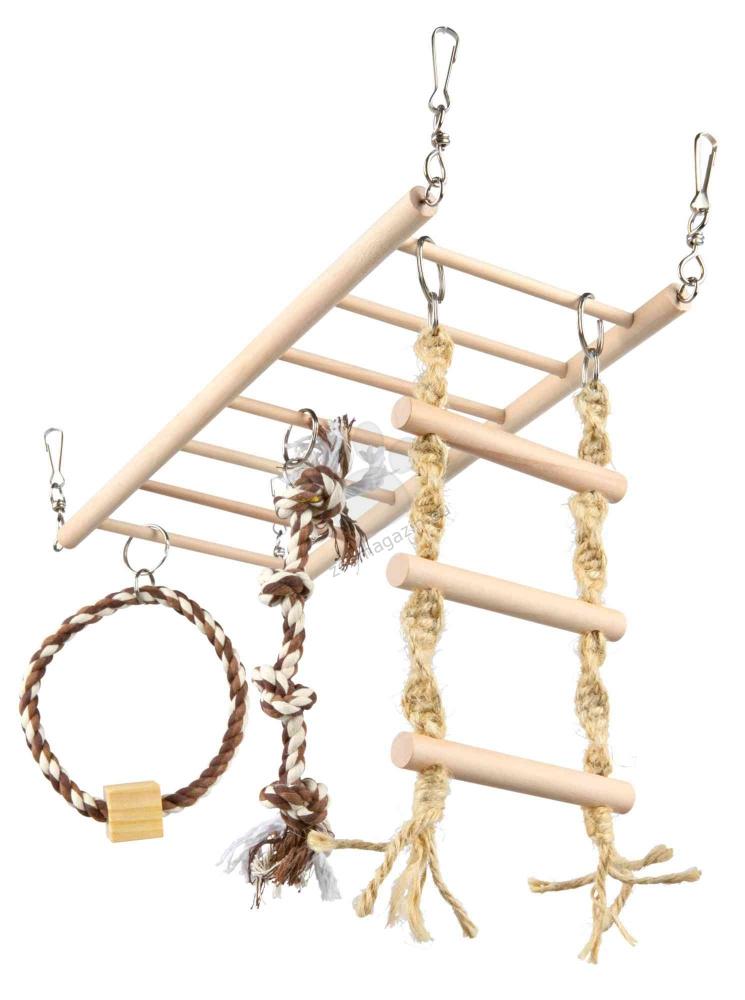 Trixie Suspension Bridge - дървена стълба с въжета за игра 35 / 15 см.