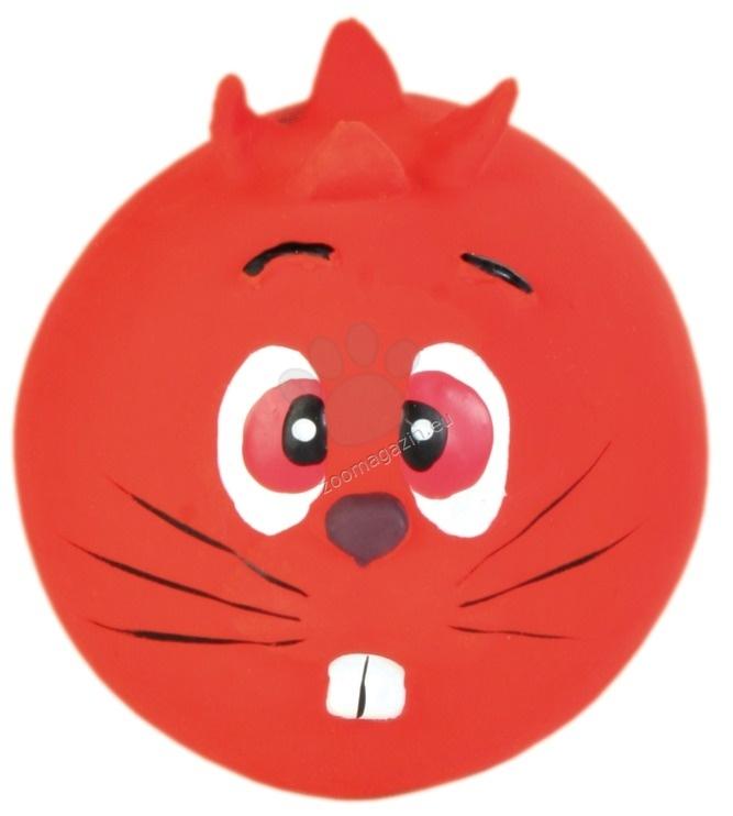 Trixie Faces Toy Ball - латексова кучешка играчка / жълта, червена, зелена, лилава / 6 см.
