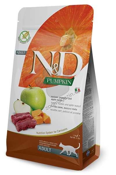 N&D Pumpkin Venison & Apple Adult – пълноценна храна с тиква за котки над 1 година, с еленово месо и ябълки 1.5 кг. + ПОДАРЪК: 3 броя консерва N&D Cat