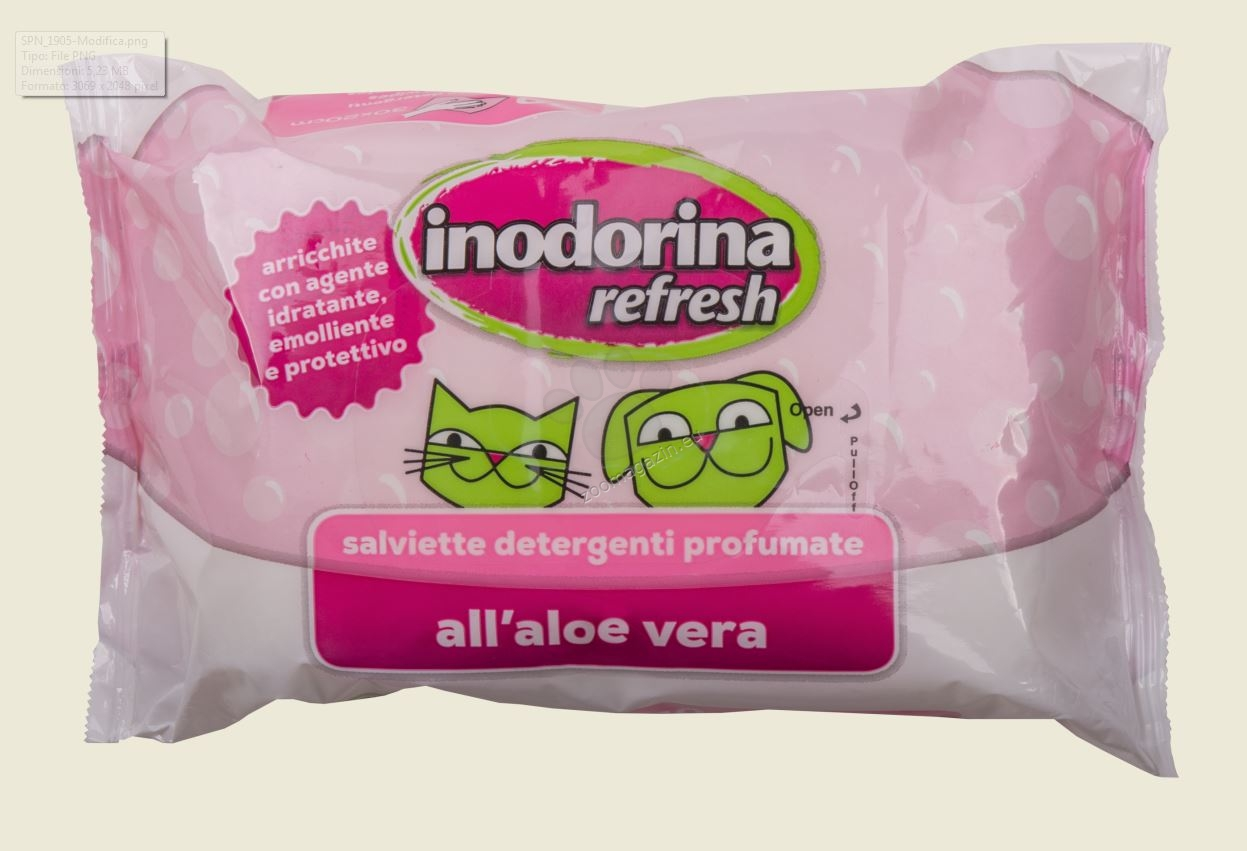 Inodorina Refresh Aloe Vera Perfume - мокри кърпички с алое вера 40 броя
