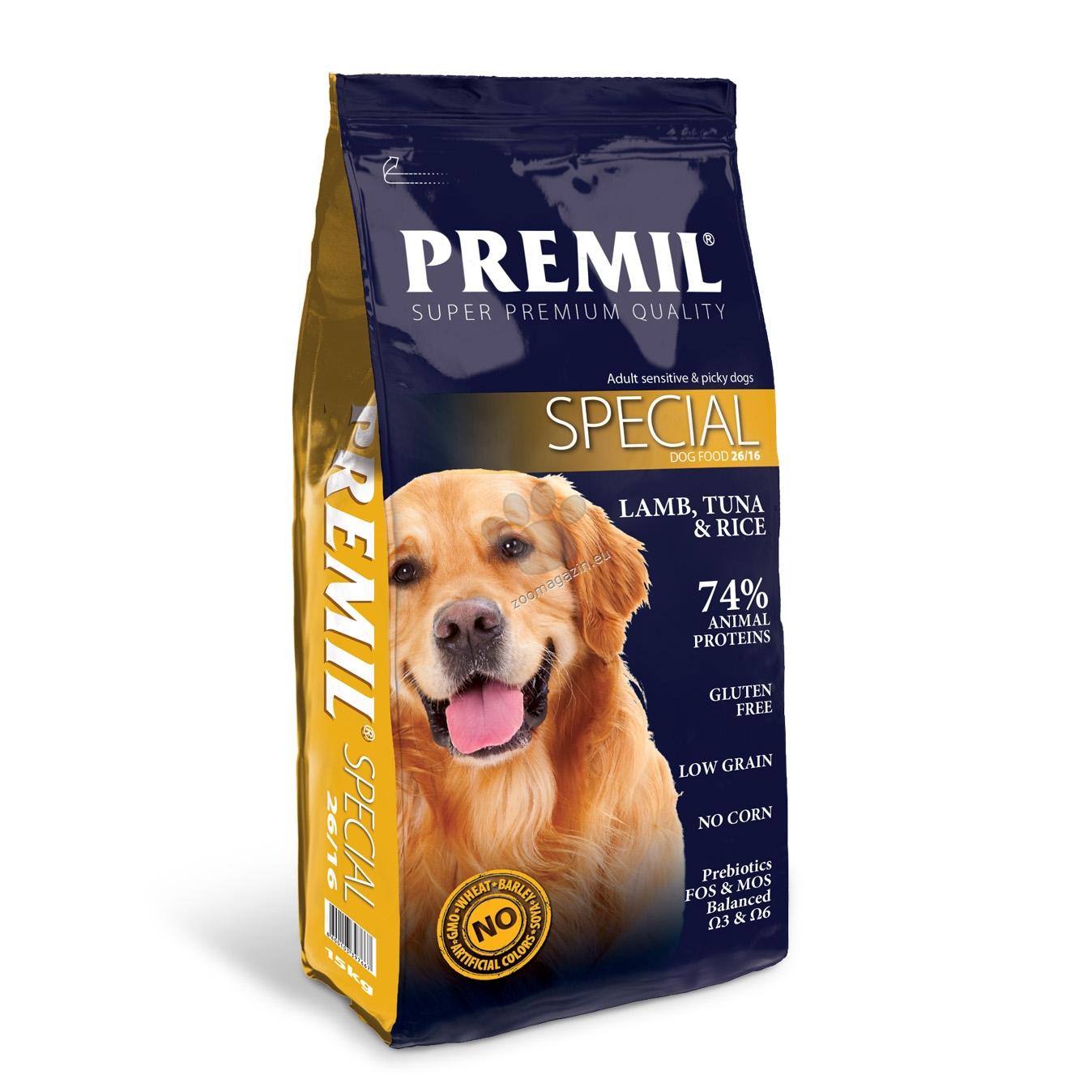 Premil - Special 26/16 - пълноценна храна с агнешко месо и ориз, за кучета с капризен апетит 15 кг.
