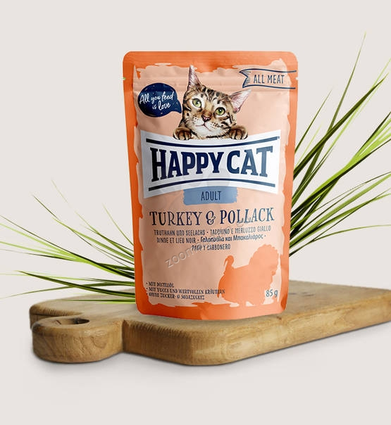 Happy Cat All Meat Adult Turkey & Pollack - с пуешко месо и морска сьомга 85 гр.