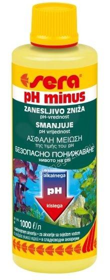 Sera - pH Minus - препарат за безопасно понижаване на pH на водата в сладководния аквариум 100 мл.