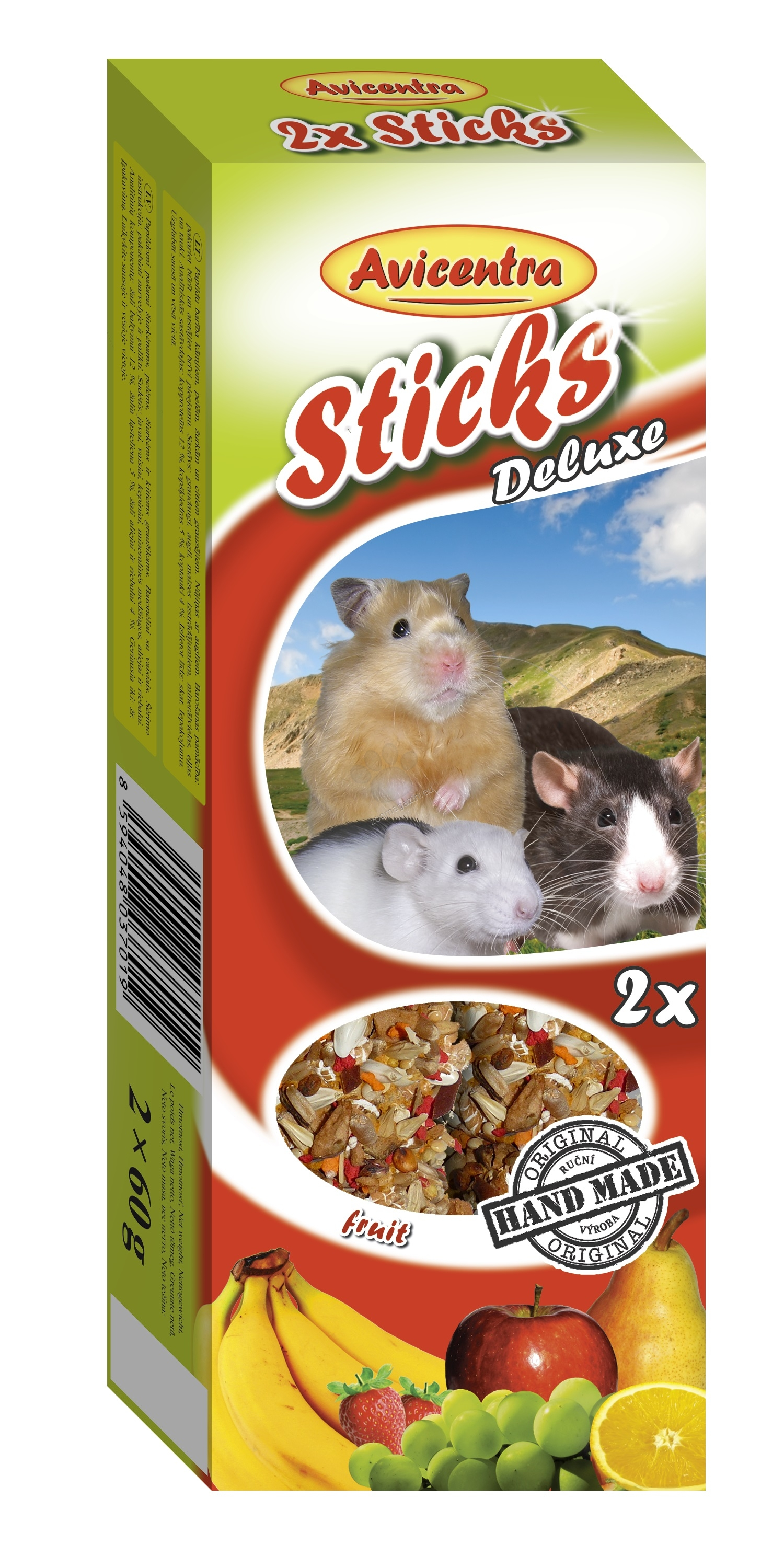 Avicentra Sticks deluxe with fruits for hamster, rat and mouse - крекер с плодове 2 броя, 120 гр.