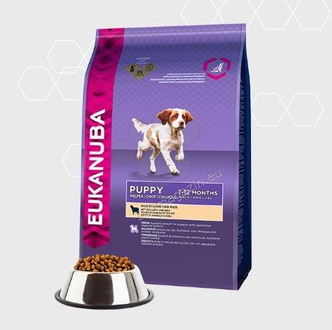 Eukanuba Puppy Lamb & Rice All Breeds - с агнешко месо, подходяща за всички породи от 1 до 12 месеца  15 кг. + 3 кг. ГРАТИС