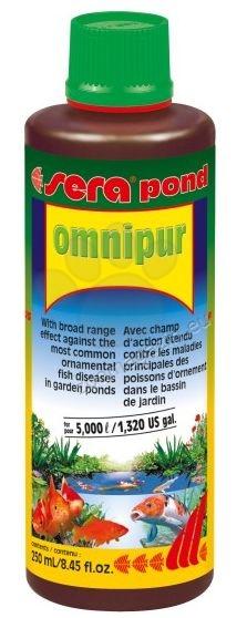 Sera Pond Omnipur - широкоспектърен препарат срещу най-често срещаните болести при рибите от градинските езера 250 мл.