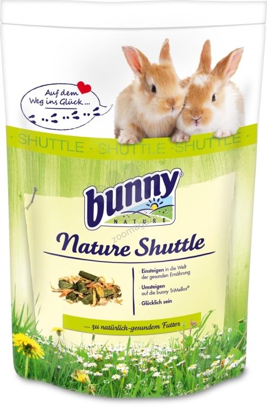 Bunny - NatureShuttle 600 гр. - храна за преход към хранене с Bunny Basic + 1 бр. Гратис Опаковка Bunny Basic -здравословна храна за зайчета след 6 ти месец 750 гр.
