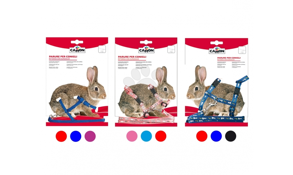 Camon Rabbit  - повод с нагръдник за зайче / розов, син, червен /  8 мм. / 1200 мм.