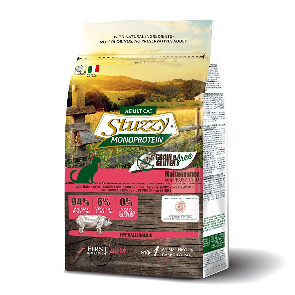 Stuzzy Monoprotein Grain Free Prosciutto Adult - пълноценна храна с прошуто за котки над 12 месечна възраст 400 гр.
