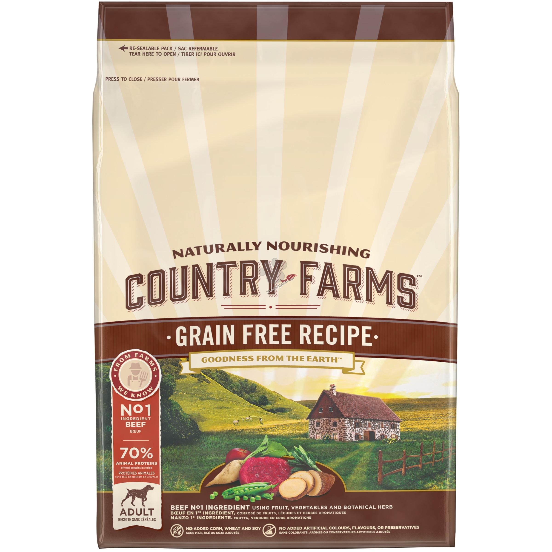 Country Farms Grain Free Adult Beef - пълноценна храна с говеждо месо за кучета средни и големи породи над 12 месечна възраст 2.5 кг.