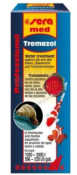 Sera Med Professional Tremazol - ефективен срещу вече споменатите хрилни ( Dactylogyrus sp.) и кожни ( Gyrodactylus sp.) метили, червеите от род Bothriocephalus и плоски червеи от род Transversotrema 100ml