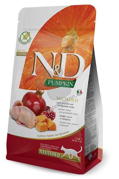N&D Pumpkin Quail & Pomegranate Adult Neutered – пълноценна храна с тиква за кастрирани котки над една година, с пъдпъдък и нар 1.5 кг. + ПОДАРЪК: 3 броя консерва N&D Cat