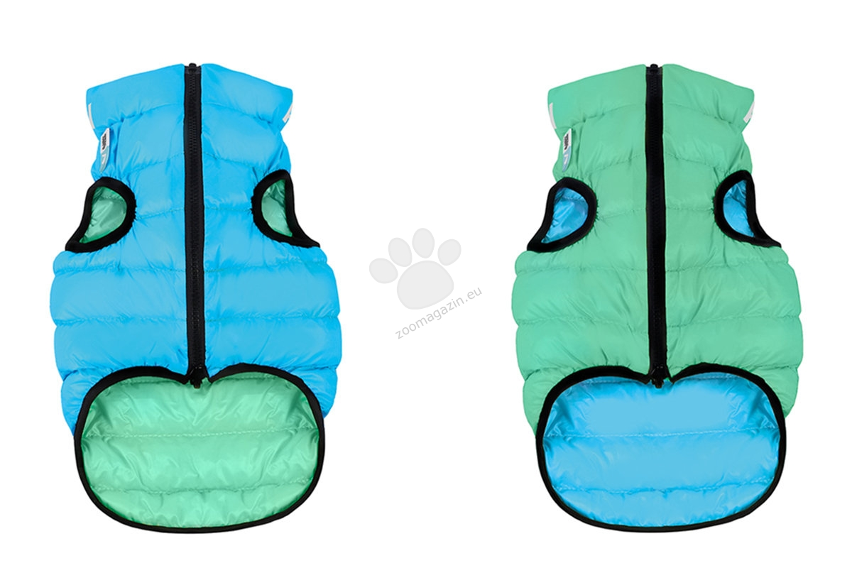 Reversible dog jacket AiryVest Lumi, light green-blue (it glows in the dark) XS22 - двустранно олекотено светещо яке 20 - 22 см.