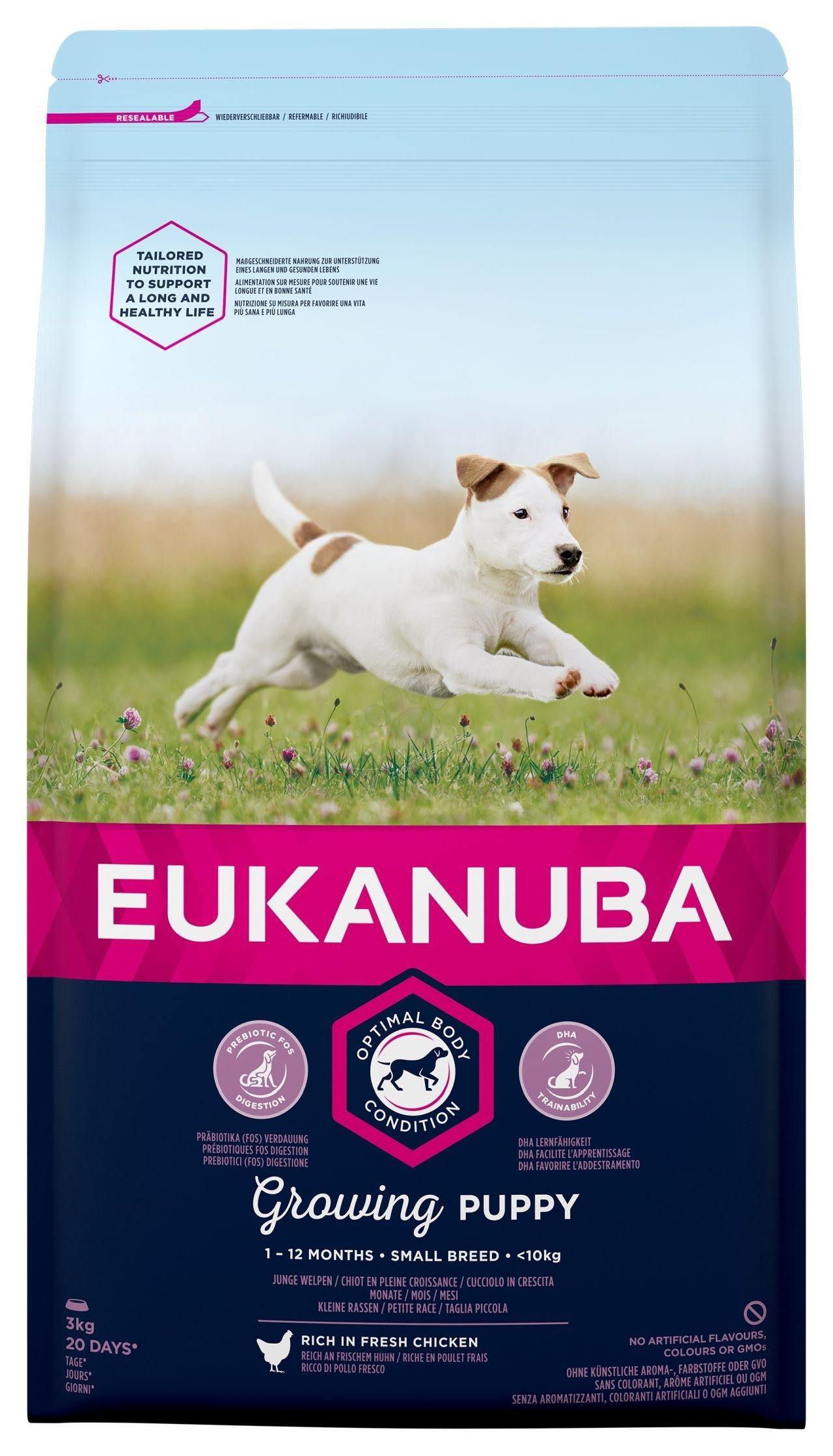 Eukanuba Puppy Chicken Small Breed - за кучета малки породи до 10 кг и възраст от 1 до 12 месеца 3 кг.