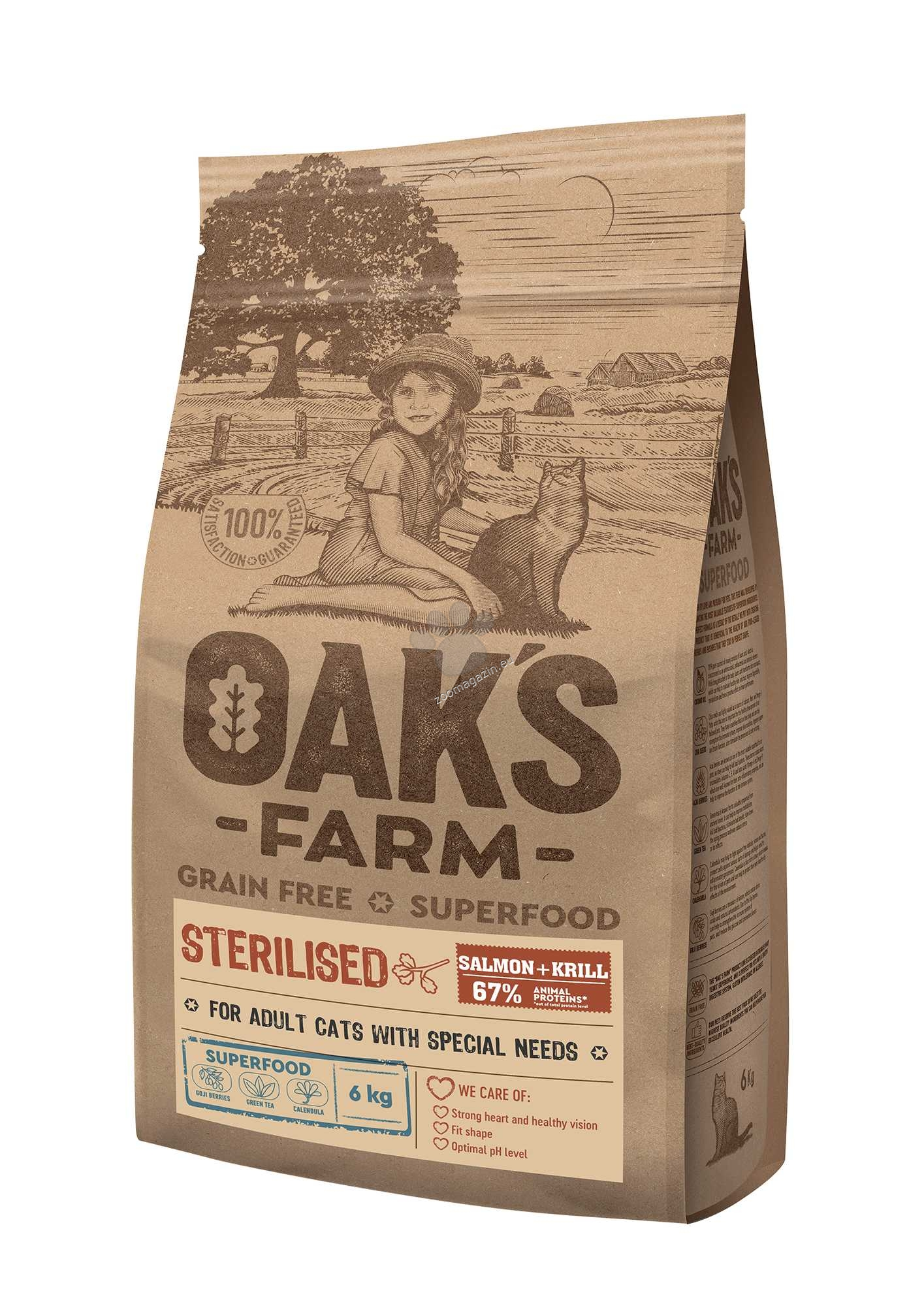 Oaks Farm Grain Free Salmon with Krill Sterilized Adult Cat - пълноценна храна без зърнени култури със сьомга и крил за кастрирани котки над 1 година 2 кг.