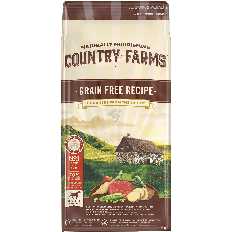 Country Farms Grain Free Adult Beef - пълноценна храна с говеждо месо за кучета средни и големи породи над 12 месечна възраст 11 кг.