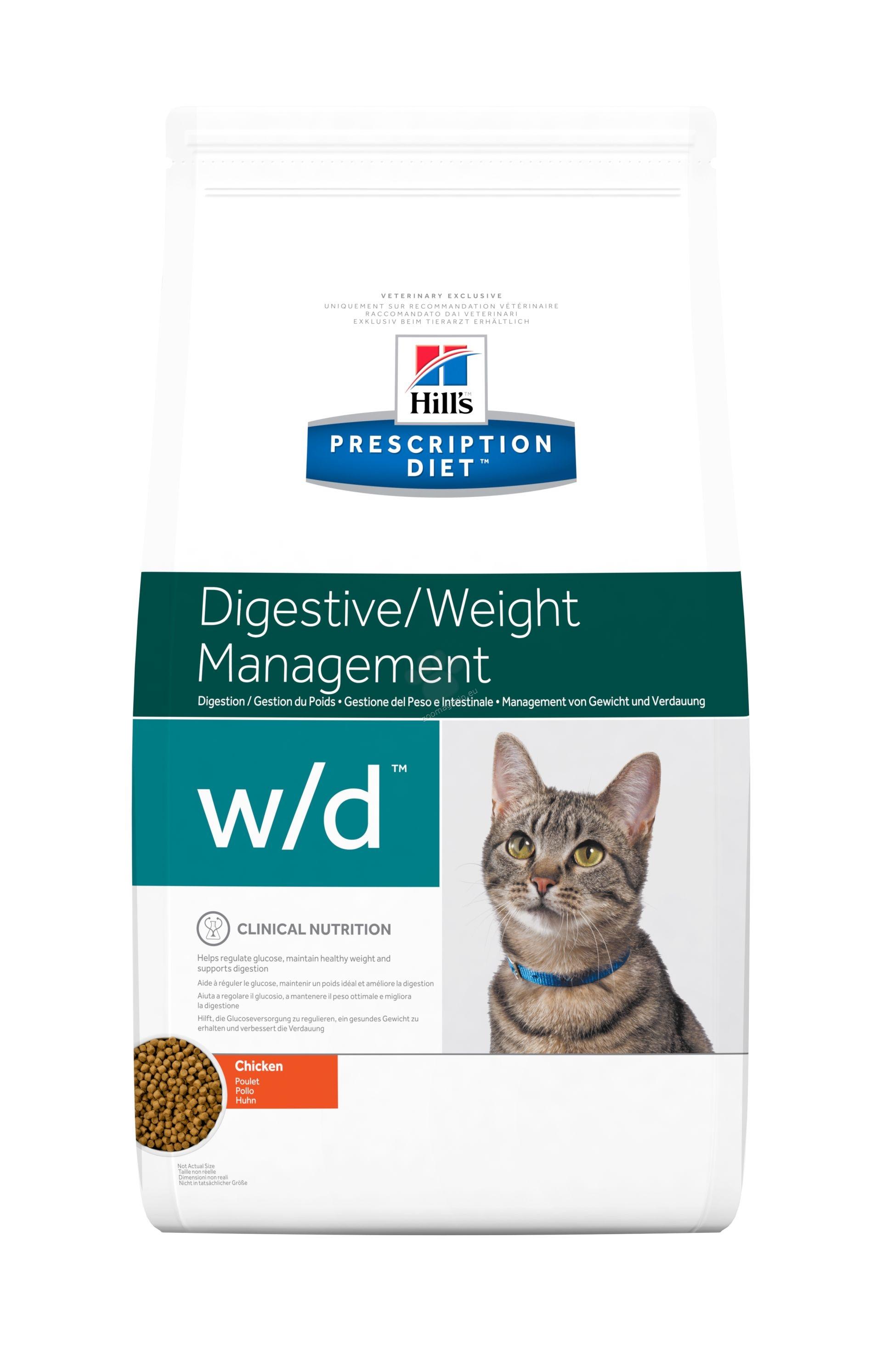 Hills Prescription Diet w/d Feline - диета за състояния като колит, запек, мегаколон и за поддържане на телесно тегло и регулиране на липидния метаболизъм при хиперлипидемия 5 кг.