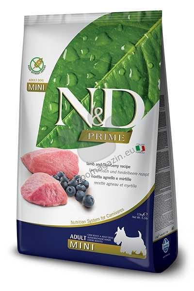 N&D Grain Free Mini Adult - пълноценна храна с агнешко месо и боровинки, за кучета от дребни породи над 12 месеца 800 гр.