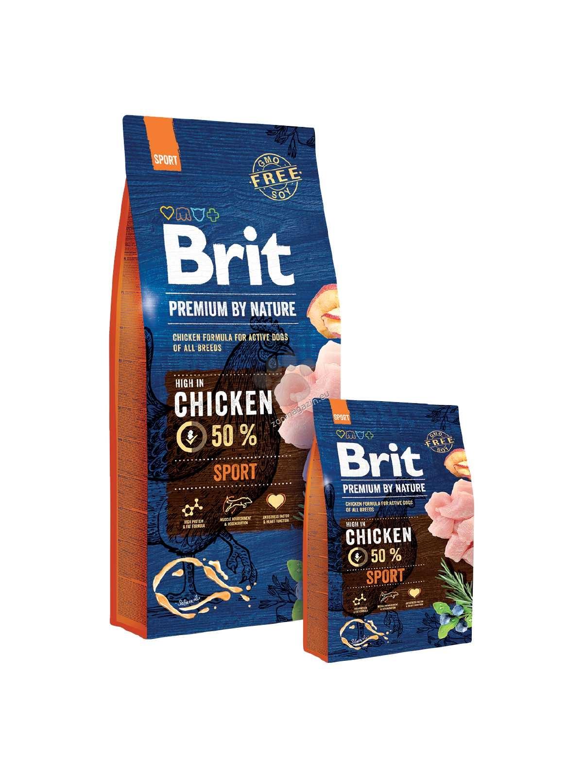 Brit Premium by Nature Sport - пълноценна храна за активни кучета, подходяща за всички породи 15 кг.
