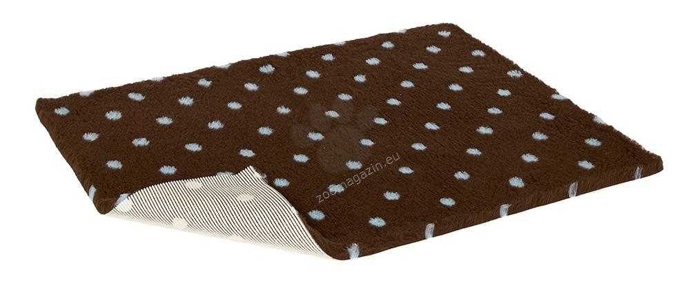 Vetbed Non-Slip Polka Dot Brown/Blue Dots - мека постелка със слой против пързаляне 80 / 75 см.