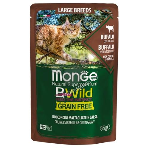 Monge BWILD Grain Free Large Breeds с биволско и зеленчуци – пауч с хапки в сос, без зърнени храни – за котенца и котки в зряла възраст от едрите породи 85 гр.