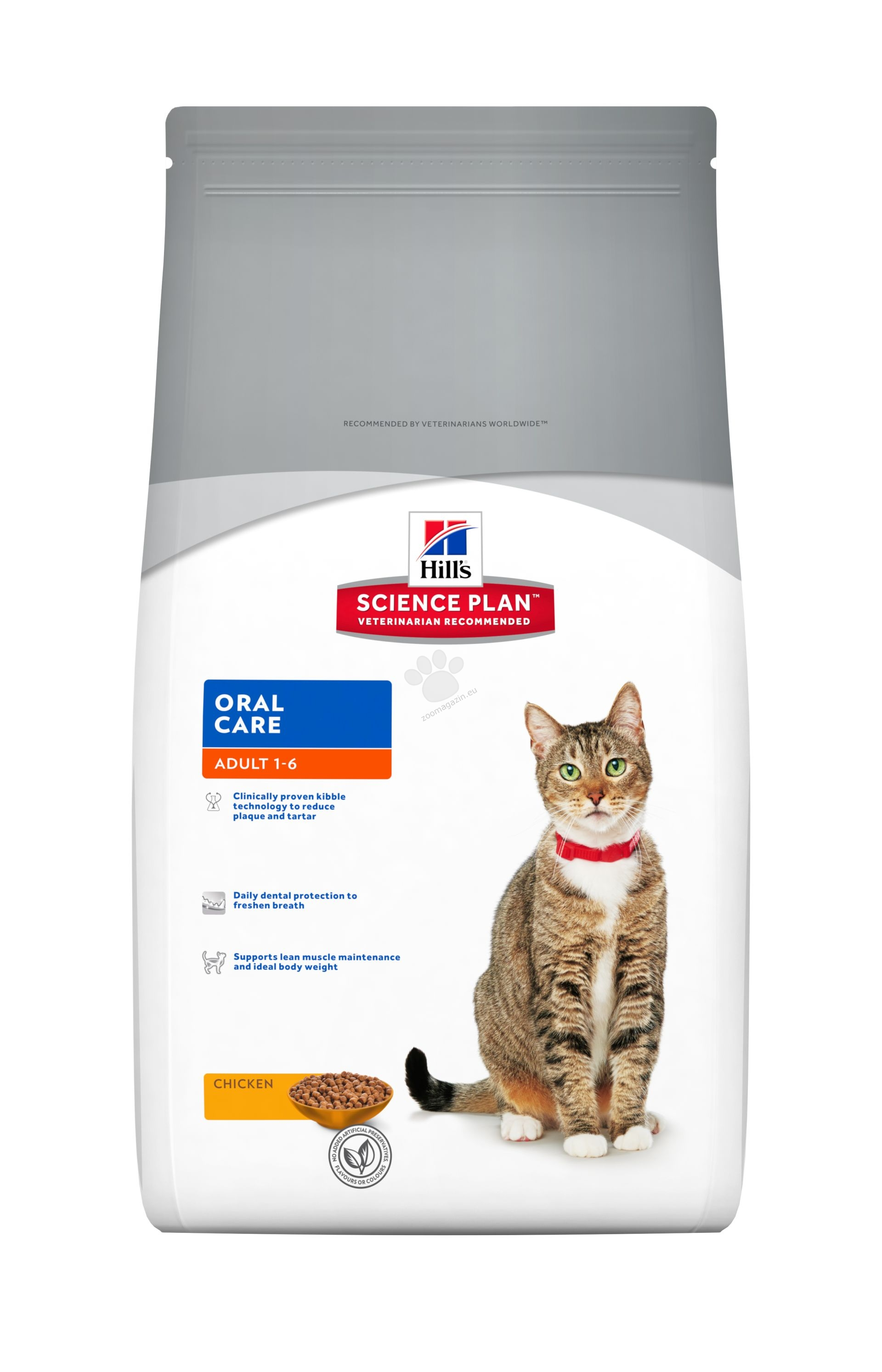 Science Plan Feline Adult Oral Care Chicken - За подобряване на устната хигиена 5 кг. + ПОДАРЪК: 1 кутия x 12 пауча Adult FAVOURITE SELECTION