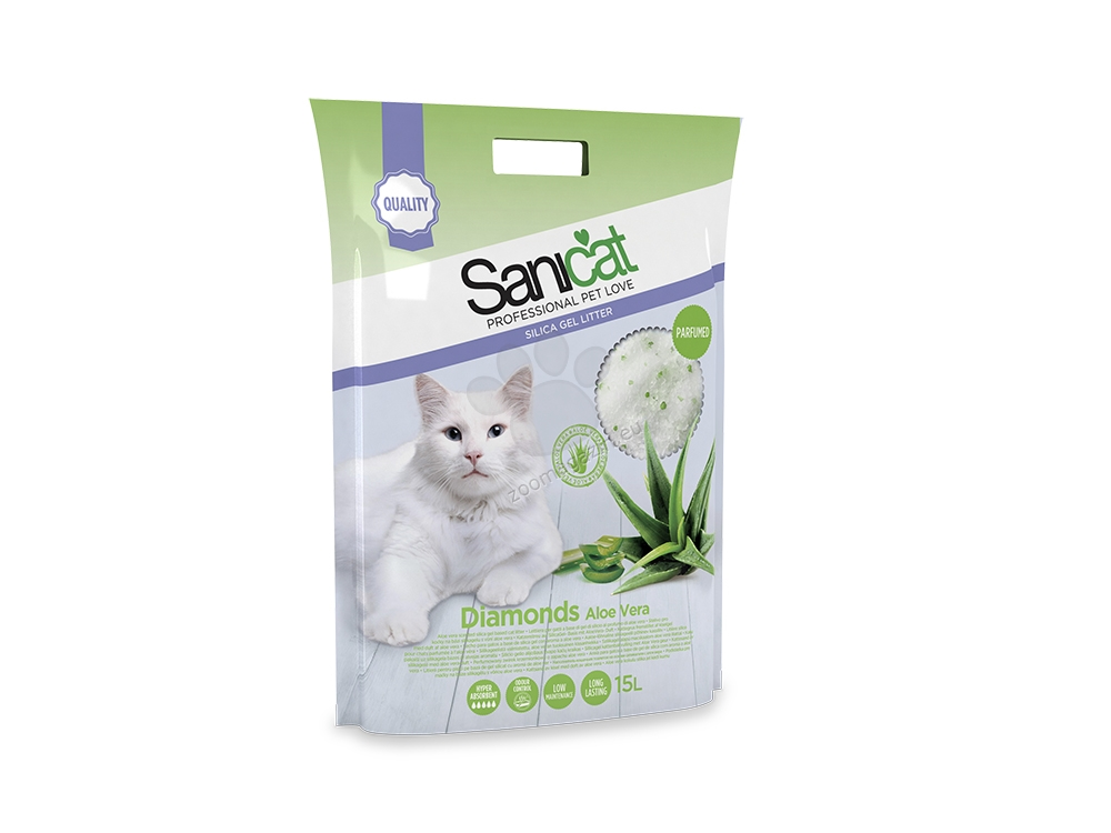 Sanicat Diamonds Aloe Vera - силиконова котешка тоалетна с аромат на алое вера, 15 литра /7.1 кг/