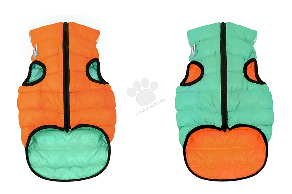 Reversible dog jacket AiryVest Lumi, light green-orange (it glows in the dark) S35 - двустранно олекотено светещо яке 32 - 35 см.