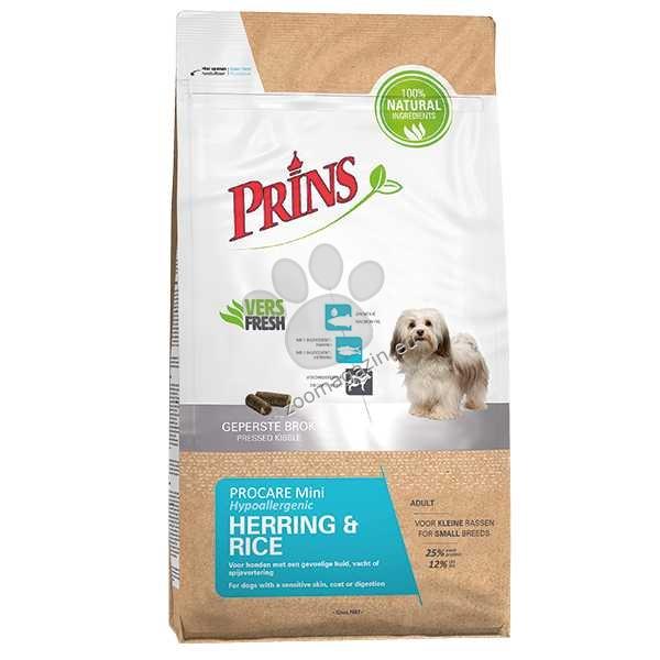 Prins ProCare Mini Herring & Rice Hypoallergenic - студено пресованa, с херинга като единствен източник на животински протеин 7.5 кг.