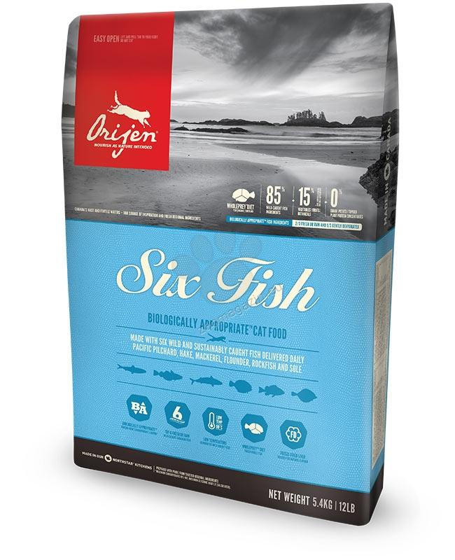 Orijen Six Fish Cat New  Formula - пълноценна храна със шест вида риба, за котки над 12 месеца  5.4 кг.