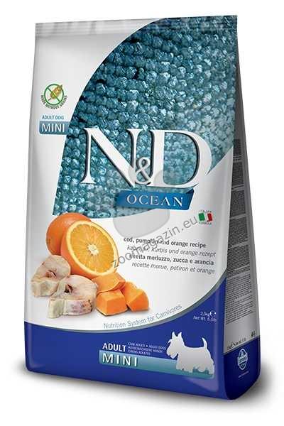 N&D Pumkin Codfish, Pumkin, Orange Mini Adult - пълноценна храна с тиква за кучета в зряла възраст над една година, от дребните породи с риба треска и портокал 2.5 кг.